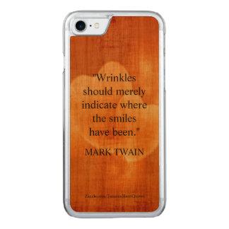 Coque En Bois iPhone 7 Citation d'anniversaire de Mark Twain avec des