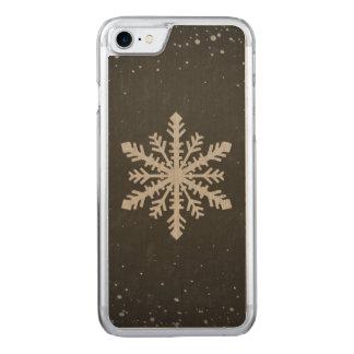 Coque En Bois iPhone 7 Dessin de craie blanc de flocon de neige d'hiver