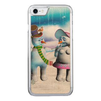 Coque En Bois iPhone 7 Femmes drôles de bonhomme de neige et de neige