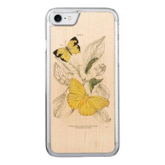 Coque En Bois iPhone 7 Insectes jaunes vintages de papillons