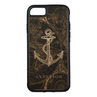 Coque En Bois iPhone 7 Le noir nautique d'ancre de Vieux Monde ajoutent