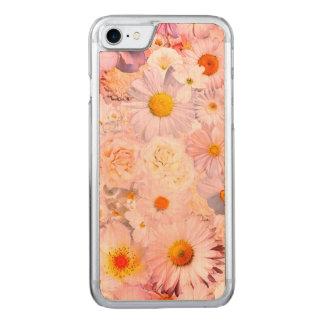 Coque En Bois iPhone 7 Le rose fleurit le ressort nuptiale de mariage