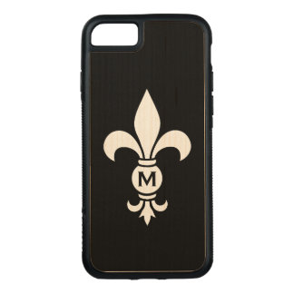 Coque En Bois iPhone 7 Luxe moderne simple de Fleur De Lis Monogram