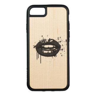 Coque En Bois iPhone 7 Maquilleur élégant de baiser de mode de lèvres