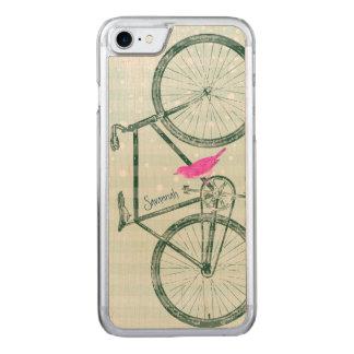 Coque En Bois iPhone 7 Motif vintage de vélo de vert vert d'oiseau sur le