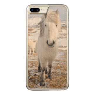 Coque En Bois iPhone 7 Plus Cheval islandais blanc, Islande