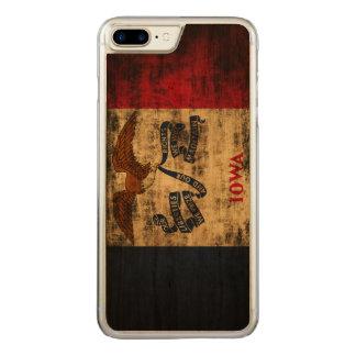 Coque En Bois iPhone 7 Plus Drapeau grunge vintage d'état de l'Iowa