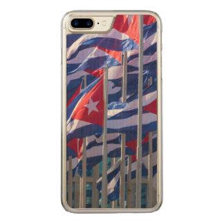 Coque En Bois iPhone 7 Plus Drapeaux cubains, La Havane, Cuba