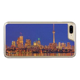 Coque En Bois iPhone 7 Plus Horizon du centre de Toronto la nuit