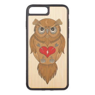 Coque En Bois iPhone 7 Plus Illustration colorée de hibou