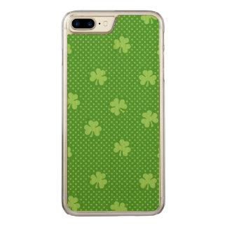 Coque En Bois iPhone 7 Plus Jour vert de Patricks de saint de motif de trèfle