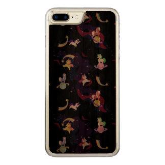 Coque En Bois iPhone 7 Plus Licornes de l'espace de Kawaii