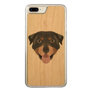 Coque En Bois iPhone 7 Plus L'illustration poursuit le rottweiler de visage