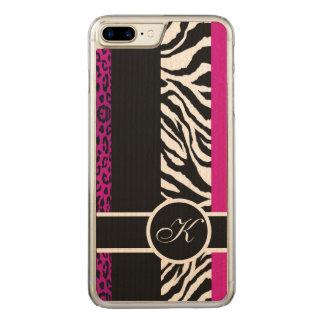 Coque En Bois iPhone 7 Plus Monogramme de poster de animal de léopard et de