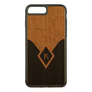 Coque En Bois iPhone 7 Plus Noir en bois chic de monogramme et bois élégant