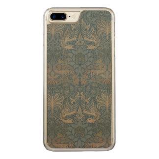 Coque En Bois iPhone 7 Plus Paon vintage et dragon Morris GalleryHD d'art