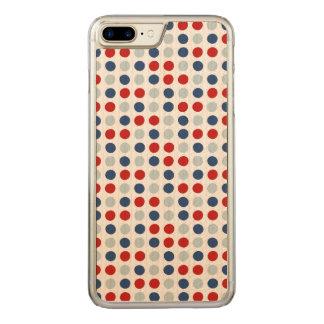 Coque En Bois iPhone 7 Plus Pois patriotique de rouge, blanc et bleu