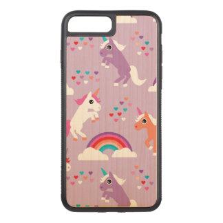 Coque En Bois iPhone 7 Plus Pourpre mignon d'arc-en-ciel de licorne