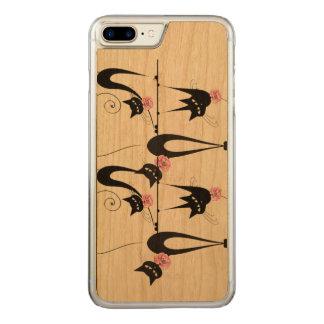 Coque En Bois iPhone 7 Plus Rose girly de chat noir
