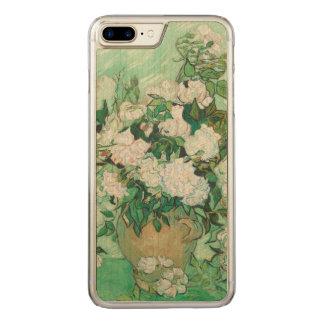 Coque En Bois iPhone 7 Plus Vase à Vincent van Gogh avec les roses roses