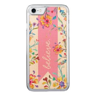 Coque En Bois iPhone 7 Rose d'inspiration de fleur sauvage