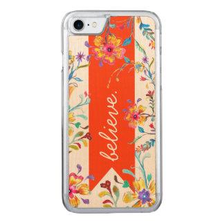 Coque En Bois iPhone 7 Rouge d'inspiration de fleur sauvage