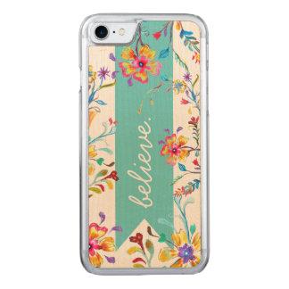 Coque En Bois iPhone 7 Turquoise d'inspiration de fleur sauvage