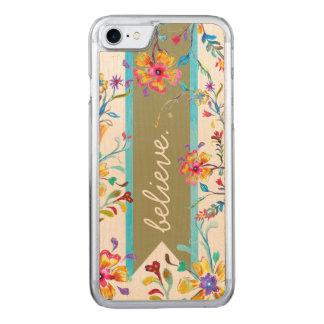 Coque En Bois iPhone 7 Vert de ressort d'inspiration de fleur sauvage