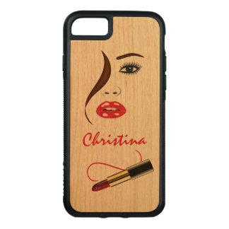Coque En Bois iPhone 7 Visage et rouge à lèvres Carved® de maquilleur en