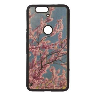 Coque En Bois Nexus 6 Cas rose de téléphone de fleur de la connexion 6p