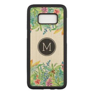 Coque En Bois Samsung Galaxy S8 Conception florale colorée tropicale GR2