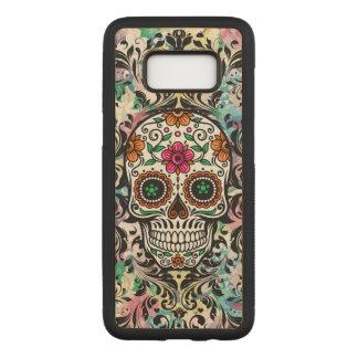 Coque En Bois Samsung Galaxy S8 Le noir floral coloré de crâne tourbillonne 2