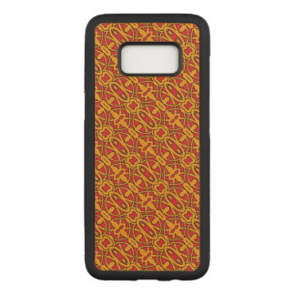 Coque En Bois Samsung Galaxy S8 Motif tiré par la main orange et rouge