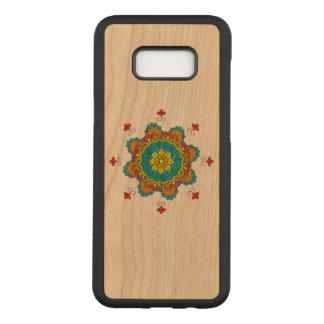 Coque En Bois Samsung Galaxy S8 Plus Mandala de fleur dans des couleurs de turquoise.
