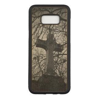 Coque En Bois Samsung Galaxy S8 Plus Scène déprimée de pierre tombale de croix de
