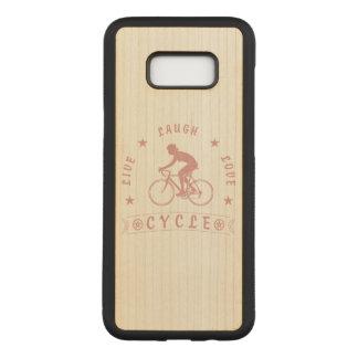 Coque En Bois Samsung Galaxy S8 Plus Texte de Live Laugh Love Cycle de Madame (rose)
