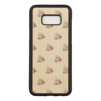 Coque En Bois Samsung Galaxy S8 Plus Trois roses roses. Modèle floral