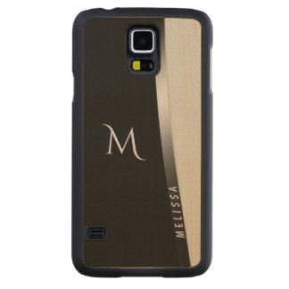 Coque En Érable Galaxy S5 Case Argent blanc noir élégant, nom et monogramme