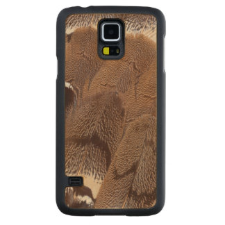 Coque En Érable Galaxy S5 Case Conception de plume de Brown