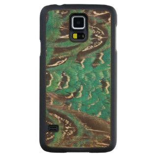 Coque En Érable Galaxy S5 Case Détail de plume de faisan de turquoise