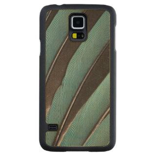 Coque En Érable Galaxy S5 Case Éventée conception bleue de plume
