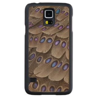 Coque En Érable Galaxy S5 Case Plume de faisan repérée par bleu