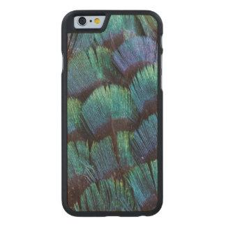 Coque En Érable iPhone 6 Case Conception bleu-vert de plume de faisan