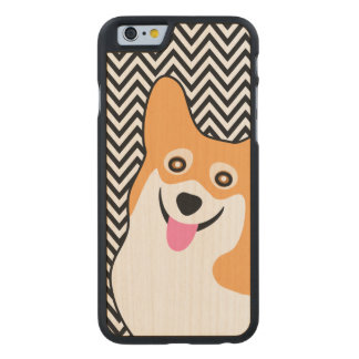 Coque En Érable iPhone 6 Case Corgi Chevron chic de Gallois de Pembroke