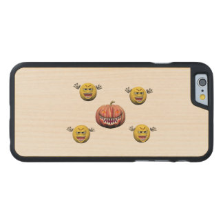 Coque En Érable iPhone 6 Case Émoticône jaune ou smiley de Halloween