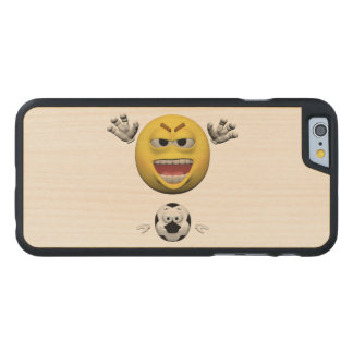 Coque En Érable iPhone 6 Case Émoticône jaune ou smiley du football