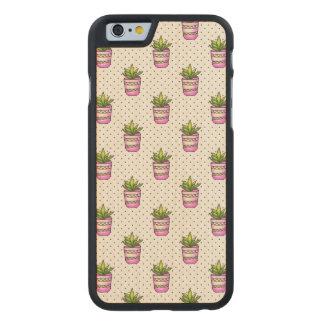 Coque En Érable iPhone 6 Case Motif de point succulent de polka d'aquarelle