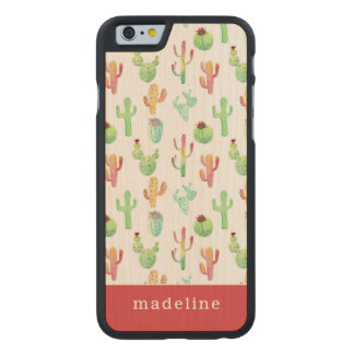 Coque En Érable iPhone 6 Case Motif en pastel d'aquarelle de cactus