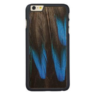 Coque En Érable iPhone 6 Plus Abrégé sur noir et bleu plume