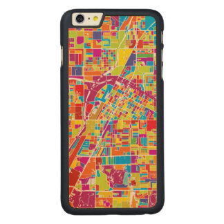 Coque En Érable iPhone 6 Plus Carte de Las Vegas coloré, Nevada